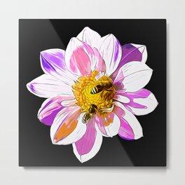 bees on flower vector art Metal Print