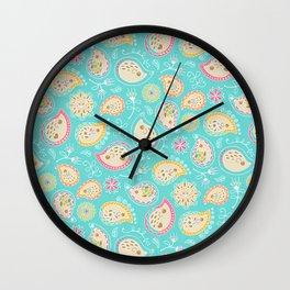 Hedgehog Paisley_Colors and Light blue Wall Clock