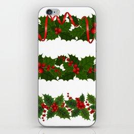 Christmas holly decoration iPhone Skin