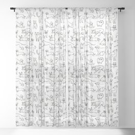 Dogs fun Sheer Curtain