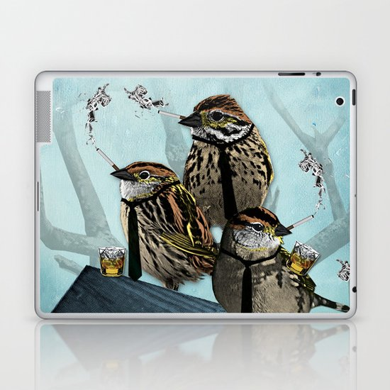 Smoking Birds Print Laptop & iPad Skin