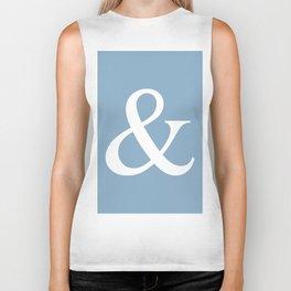 Ampersand sign on placid blue color background Biker Tank