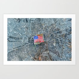 American Flag on Broken Glass Art Print