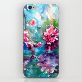 CHERRY TREE MIRRORING IN THE WATER - WATERCOLOR iPhone Skin