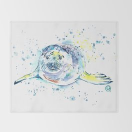 Harbour Seal Watercolor Painting - Emil Throw Blanket