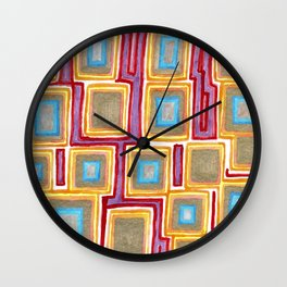 Crimson Gold and Squares Wall Clock