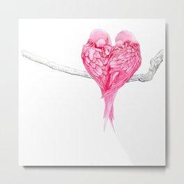 Birds Love Pink Heart Metal Print