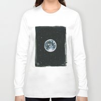 the moon Long Sleeve T-shirts featuring Moon by Laia™
