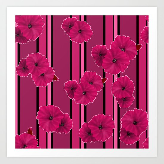 Floral pattern on striped background Art Print