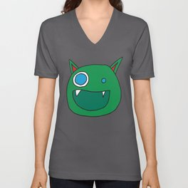 Slightly Amused Monsters, I Green Unisex V-Neck