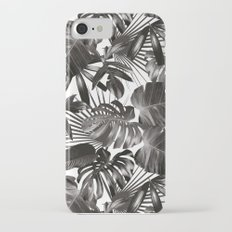 palm leaves grey seamless pattern iPhone 7 Slim Case