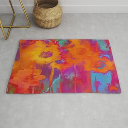bright abstract bouquet Rug