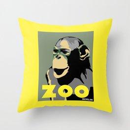 Retro Zoo Berlin monkey travel advertising Throw Pillow