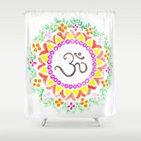 ohm Shower Curtains featuring Ohm / OM  by HollyJonesEcu