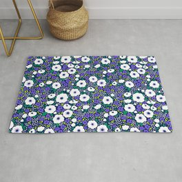 27 Ditsy floral pattern. Dark blue background. Blue and white flowers. Rug