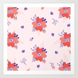Coral and Purple flower pattern Art Print