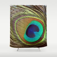 peacock feather Shower Curtains featuring Peacock Feather by Kim Bajorek