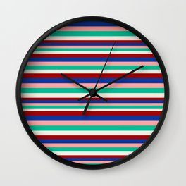 Colored Stripes - Dark Red Blue Rose Teal Cream Wall Clock