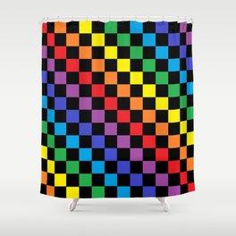 Checkered Rainbow Black Shower Curtain