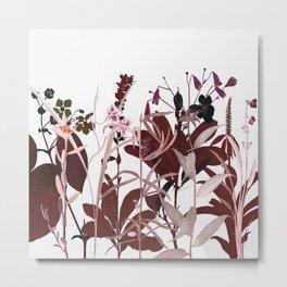 Maroon Flowers Metal Print