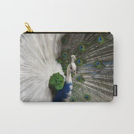 Blue White Peacock Carry-All Pouch
