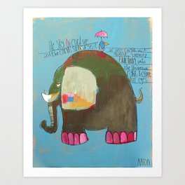 The Blue Heron and the Elephant Art Print