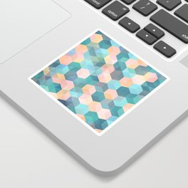 Child's Play 2 - hexagon pattern in soft blue, pink, peach & aqua Sticker
