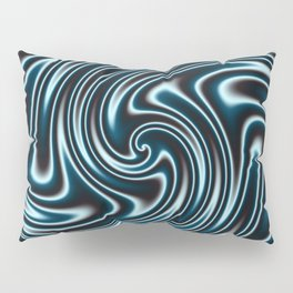 Blue and Black Licorice Ribbon Candy Fractal Pillow Sham