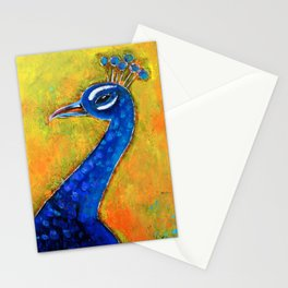 Peacock art: GLOW Stationery Cards