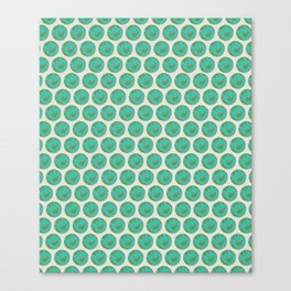 Teal Spots on Cream Canvas Print