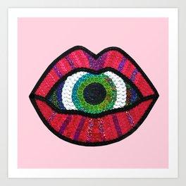 Surreal Lips Sucking on a Giant's Eye Art Print