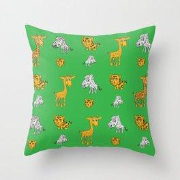 Cute Jungle Animals Pattern  Throw Pillow