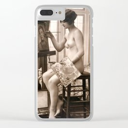 Vintage Nude Art Study R17 Lady Painting Clear iPhone Case