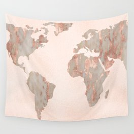Rosegold Marble Map of the World Wall Tapestry