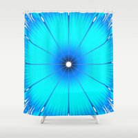 turquoise Shower Curtains featuring TURQUOISE Flower by WhimsyRomance&Fun