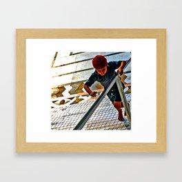 boy running Framed Art Print