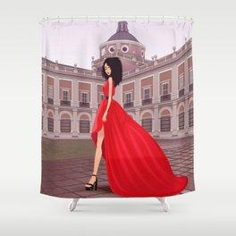 Red gala dress in Aranjuez Shower Curtain