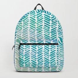 Handpainted Herringbone Chevron pattern - small - teal watercolor on white Backpack