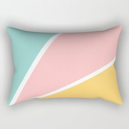 Tropical summer pastel pink turquoise yellow color block geometric pattern Rectangular Pillow