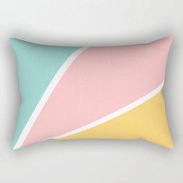 Tropical summer pastel pink turquoise yellow color block geometric pattern Rectangular Pillow