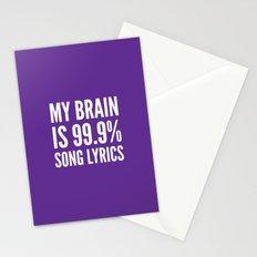 My Brain is 99.9% Song Lyrics (Purple) Stationery Cards