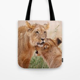 Two young lions - Africa wildlife Tote Bag