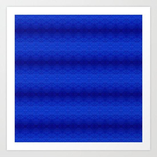 Blue Tiki Pattern Art Print