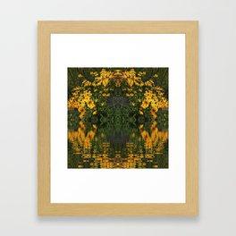 YELLOW RUDBECKIA DAISIES WATER REFLECTIONS Framed Art Print