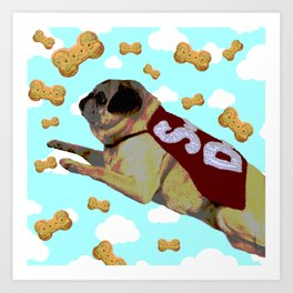 Super Pug Saves All Art Print