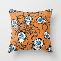 scuba Throw Pillows featuring Scuba Squad by Marc Weiss Designs