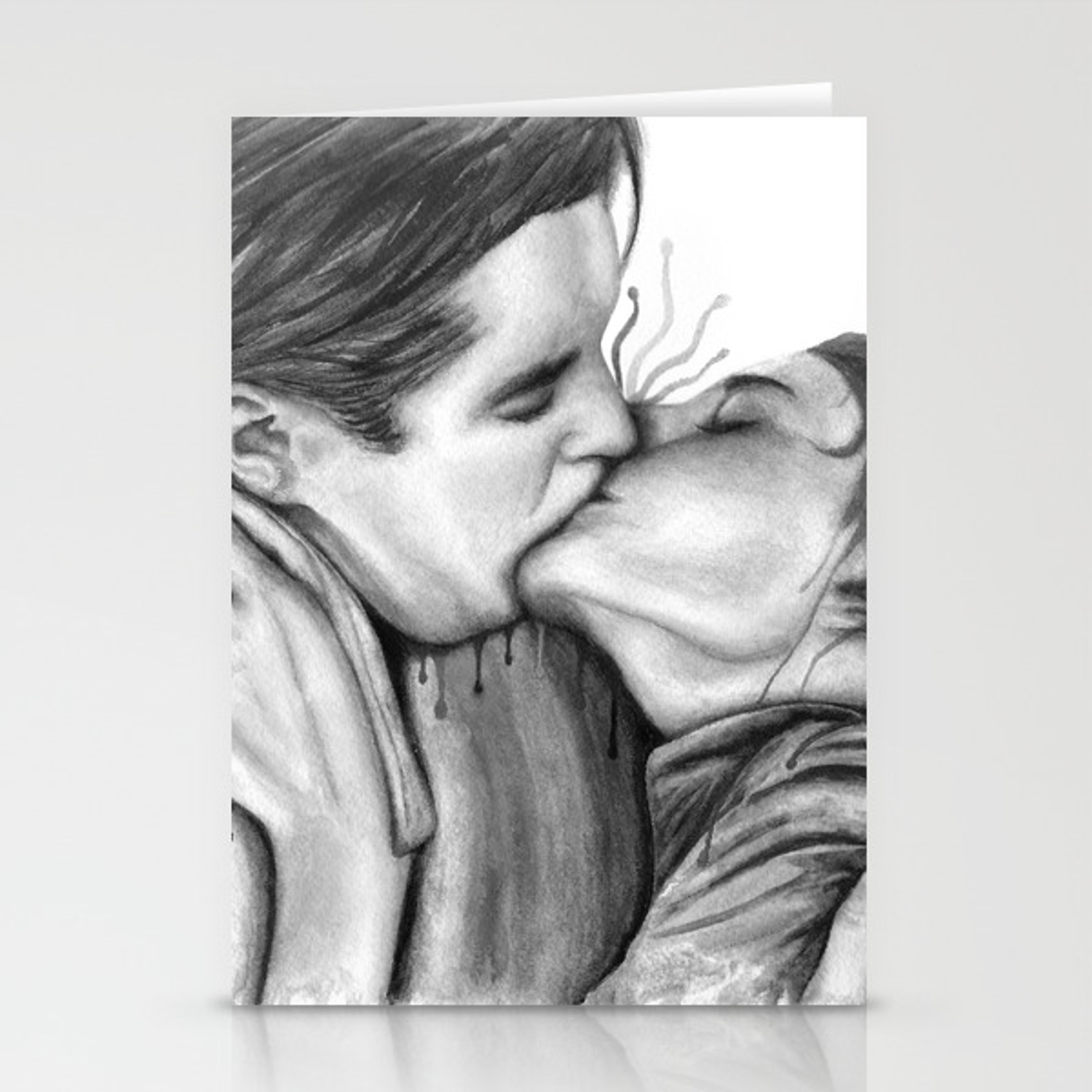 Cinema kiss blackwhite love art illustration romance lovers relationship couple drawing kiss stationery cards