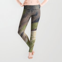 Vintage Great Barrier Reef and Clown Fish Illustration Leggings