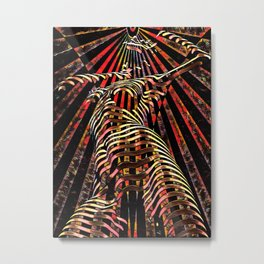 7068-KMA Abstract Feminine Spirit Zebra Striped Woman Powerful Colorful Fine Art Nude Metal Print