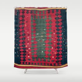Azeri Shadda  Antique South Caucasus  Azerbaijan Kilim Print Shower Curtain